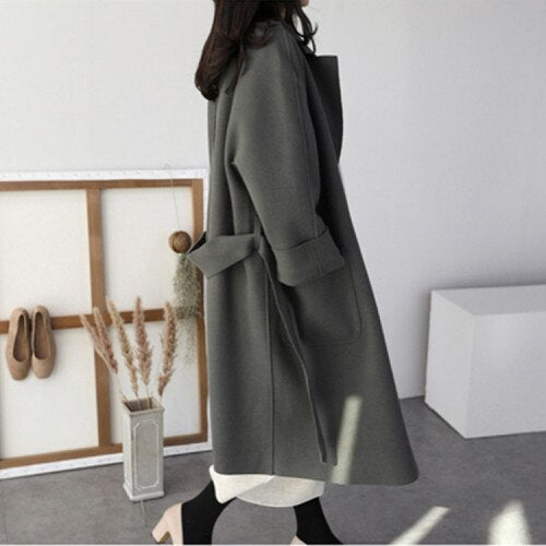Winter Coat Women Oversize Long Woolen Coat 2019 Fall Long Cardigan Plus Size Korean Outwear Abrigos Mujer Invierno