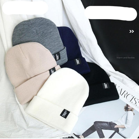Winter Knitted Skullies Beanies Winter Letter True Soft Hip Hop Hat For Men Women Casual Beanies Bonnet Unisex Solid Cap