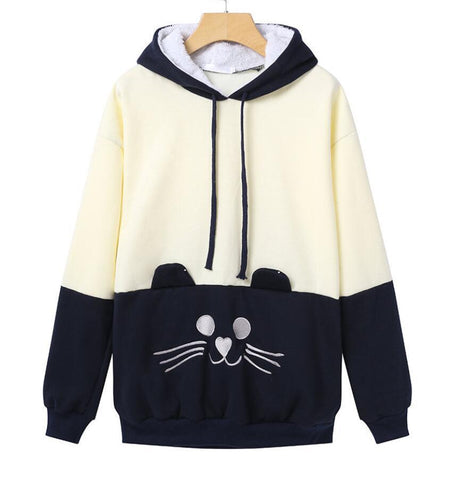 Winter New Cute Japanese Mori Kawaii Girl lolita Cat Face Tail Hoodies With Hat SweatShirts Hooded Hoodies woman Clothing Vestid