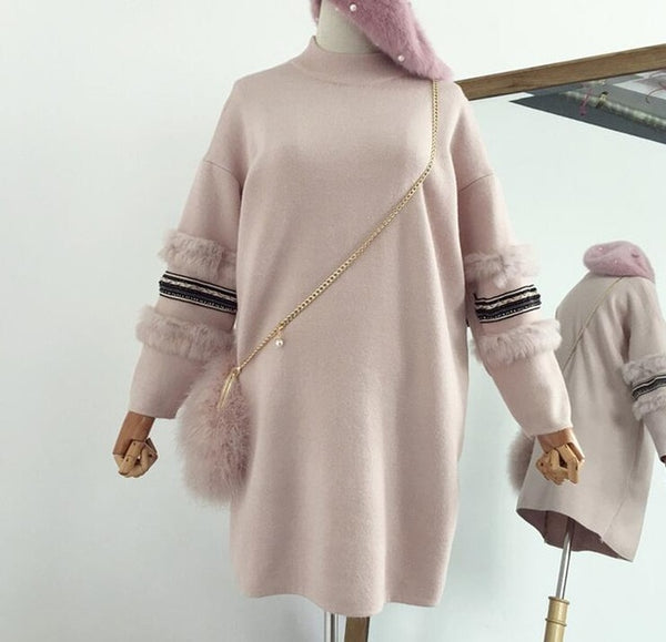 Winter Women Rabbit Fur Sleeves Sweater Dress Turtleneck Knit Long Pullovers Loose Women Jumper