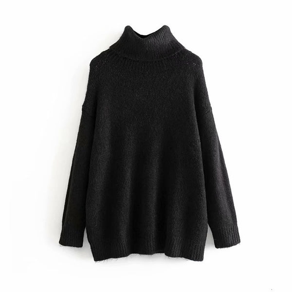 Winter Women Sweater Loose Diver Turtleneck Sweater Ladies Knitted Tops pull femme 2019 womens clothing