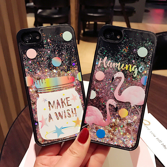 buy online 32b7c b6d0b Wish Bottle Flamingo Animal Glitter Stars Dynamic Liquid Quicksand Phone  Case For IPhone 6 Cases For Iphone 7 8 6S Plus case