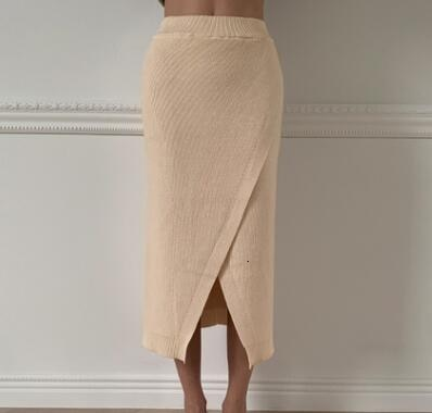 Woman Autumn Solid Color Thickening Knitting Skirt High Waist Split Midi Warm Skirts Beige Coffee Knit Skirt