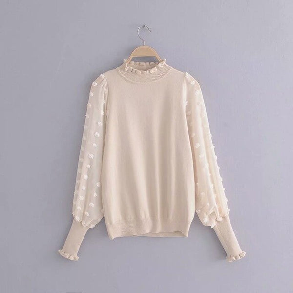 Woman Sweaters Polka Dot Sweet Pullover Sweaters See Through Long Sleeve Jumpers Autumn Knitted Tops