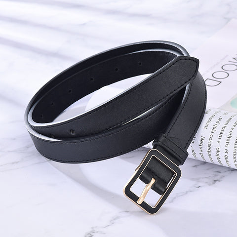 Women Casual Solid Wild Adjustable Belts Faux Leather Square Buckle Belts Decoration Ladies Fashion Accessories For Jeans Dress