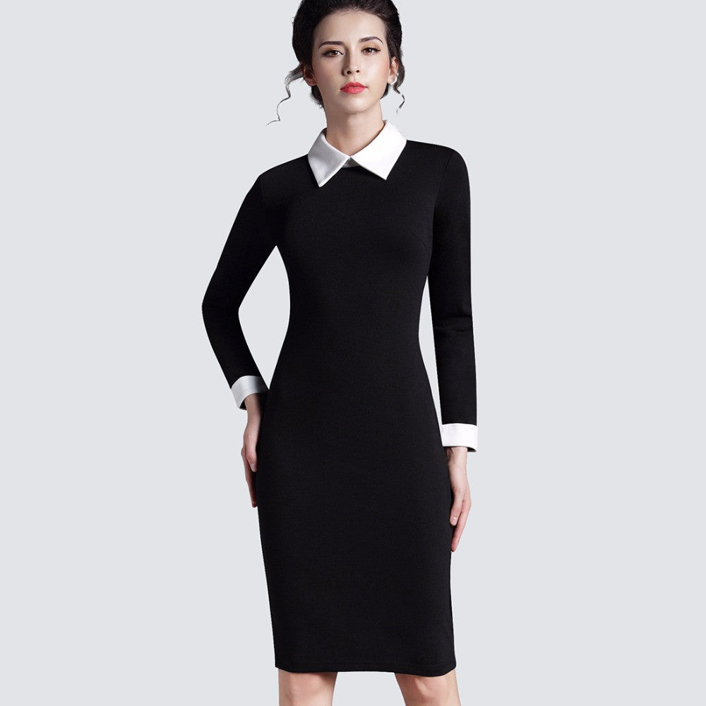 983e1d89600 ... Women Clothing Vintage Black Women Formal Work Business Office Short  Sleeve Casual Bodycon Sheath Fitted Pencil ...