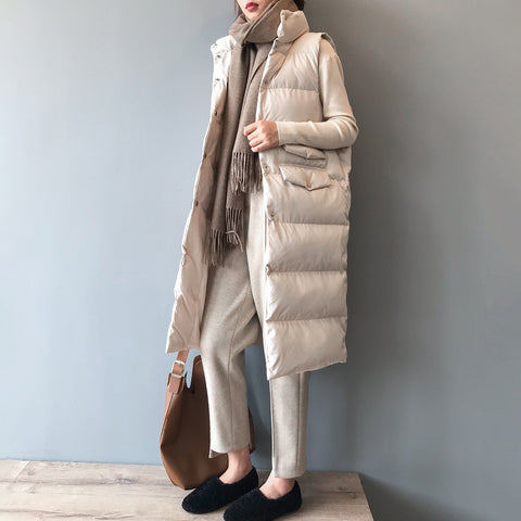Women Long Vest 2019 Winter Warm Coat Puffer Vest Jacket Stand Collar Warm Outwear Female Waistcoat