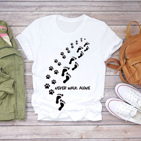 Women T-shirts Dog Cat Paw Letter Sweet 90s Printing Animal Print Graphic Tee