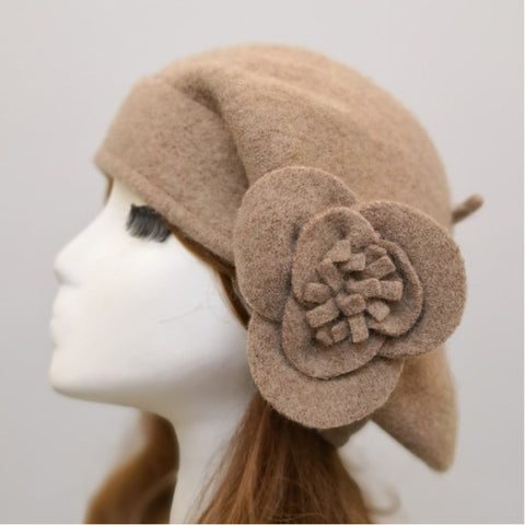 Women's Fashion Painter Caps 100% Woollen Beret Hats Church Flapper Hats For Women Autumn Winter Warm Flower Fedoras