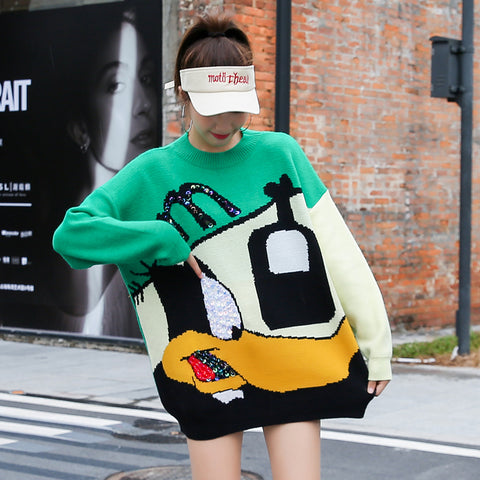 Women's Knit Sweater Autumn 2019 New Fairy Bottom Missing Knit Sweater Lazy Wind Loose Women Wear Autumn and Winter