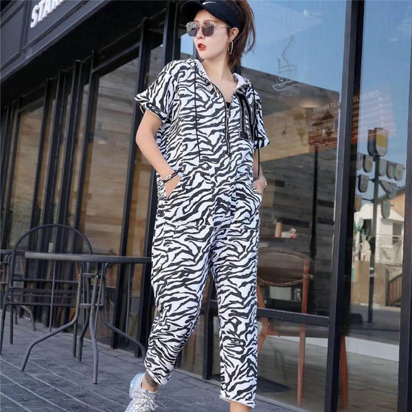 Women's jumpsuit 2019 summer street women's jumpsuit high waist large size printed camouflage casual pants