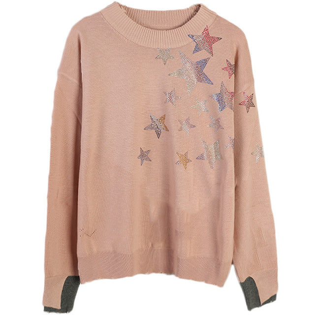 Women's sweater 2019 autumn and winter new women's long sleeves five-pointed star hot drilling round neck loose knit top