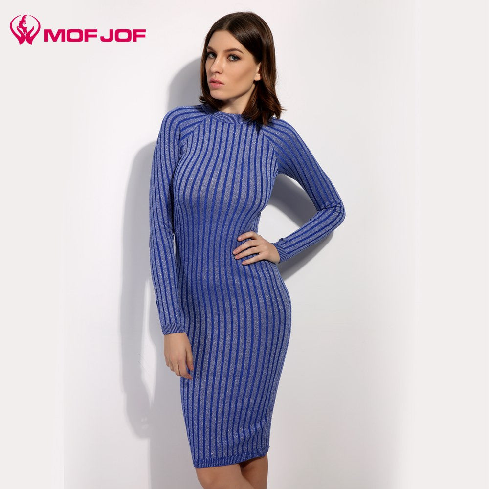 c01b0bdc6bb02 Women sweater dress 2017 spring autumn long sexy Lurex Bodycon Dresses  Elastic Skinny twinkle Knitted Dress ...