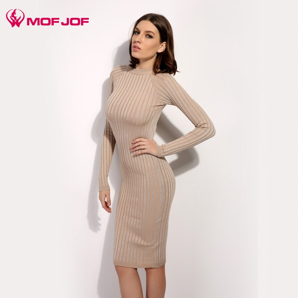 e4df5c7a5a57e ... Women sweater dress 2017 spring autumn long sexy Lurex Bodycon Dresses  Elastic Skinny twinkle Knitted Dress ...