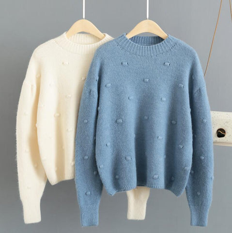 Womens Sweaters 2019 Winter Tops Polka Dot Turtleneck Sweater Round Neck Pullovers Solid Jumper