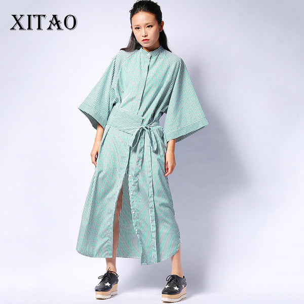 [XITAO] 2016 Korean autumn women loose striped shirt dress casual loose half sleeve stand collar ankle-length dress  HJF005