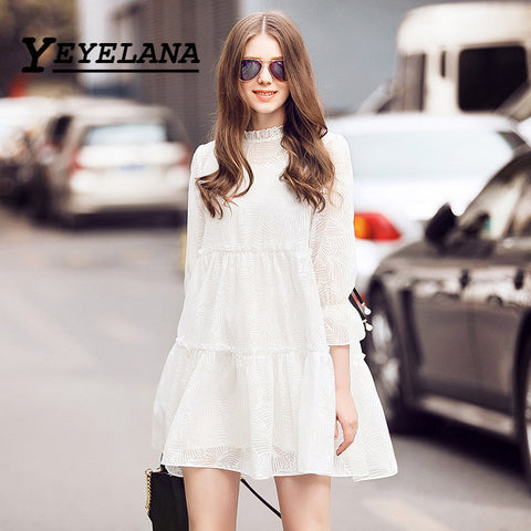 YEYELANA 2017 Spring Summer Women Dresses Vintage Casual Loose O-neck Thress Quarter Sleeve Dress Women Vestidos A037
