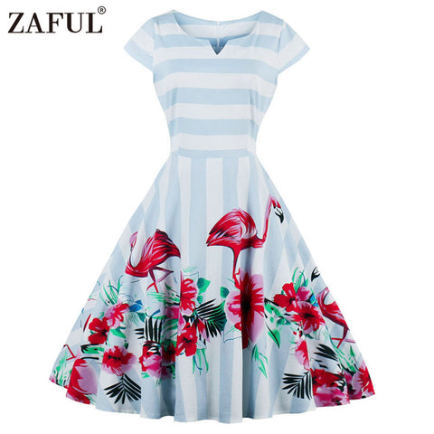 ZAFUL Plus Size S~4XL Vintage Women Dress 2017 New Flamingo Pattern Print Party Vestidos Cap Sleeves Swing Retro Casual Dress