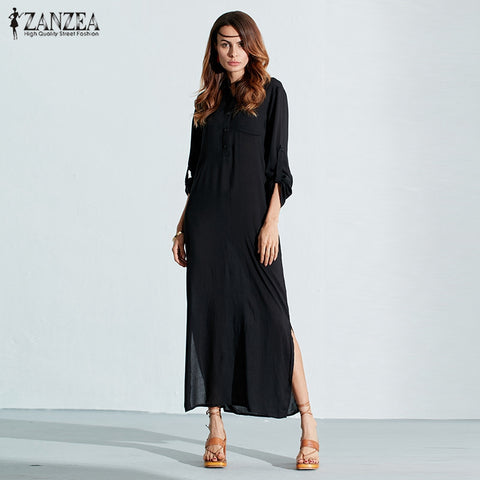 ZANZEA 2017 Summer Retro Fashion Women Sexy Casual Dress Long Sleeve V Neck Hme Split Solid Long Maxi Dress Plus Size Vestidos