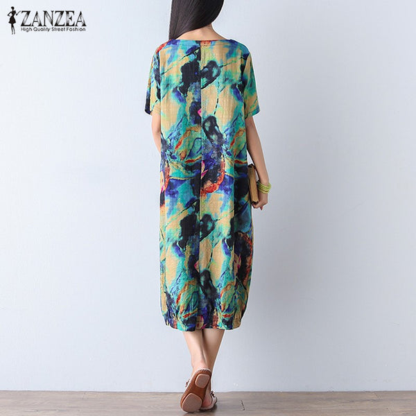 ZANZEA Women Dress 2017 Vintage Floral Print Mid-calf Dress Ladies Short Sleeve O Neck Loose Casual Vestidos Plus Size