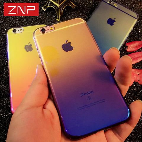 ZNP cover case For iPhone 6 6S Plus 7 7 plus Case Gradient Blue-Ray Light Hard Cases For Apple iPhone 7 7 Plus Clear Cover Capa