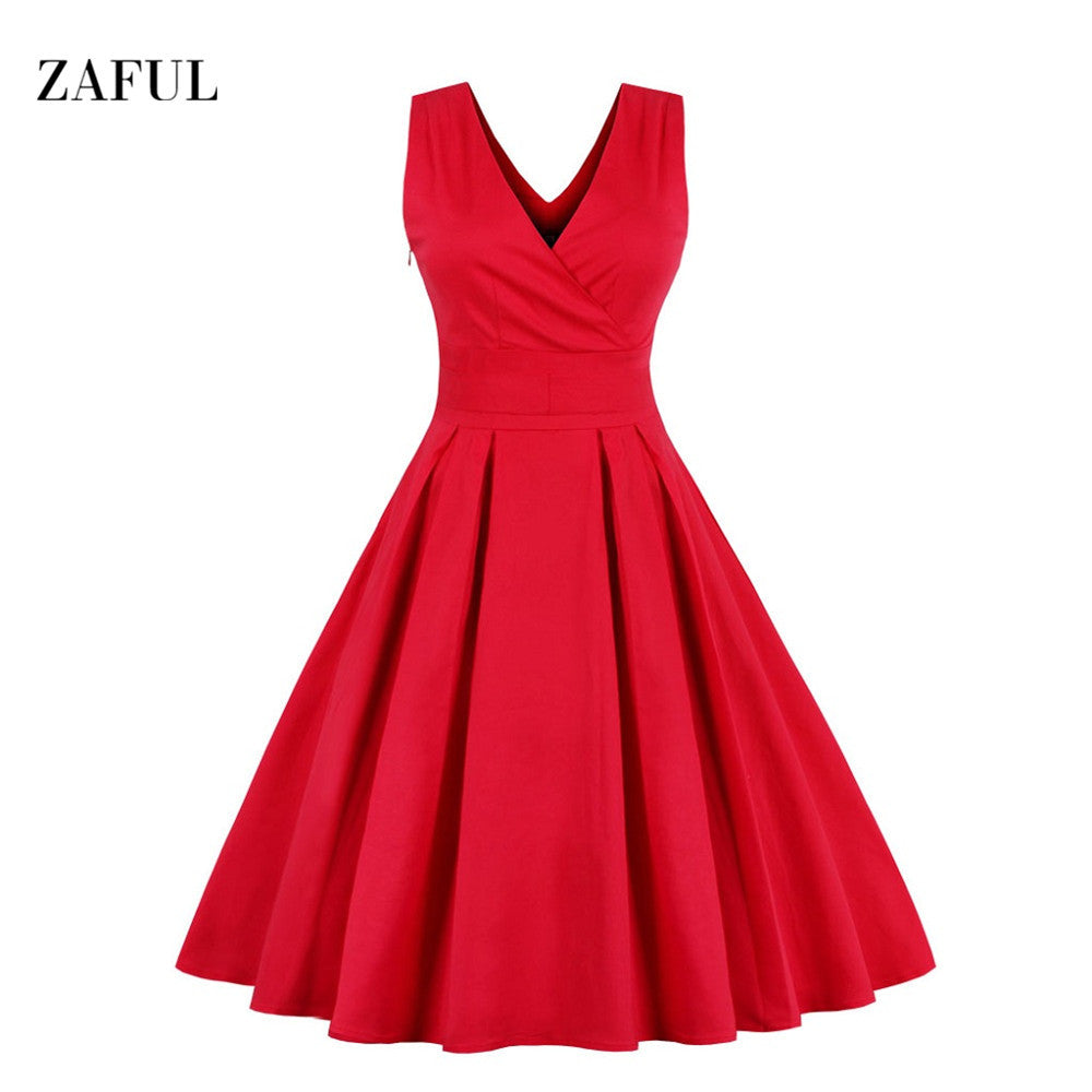 6d26cf2d09985c Zaful M-6XL Red Plus Size Vintage Dress Women Summer Autumn Sexy V-nec –  Intel Retro