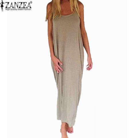 Zanzea Brand Vestidos 2017 Women Fashion Casual Loose Solid Dress Sleeveless Backless Long Maxi Beach Dresses Plus Size