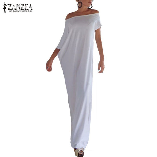 Zanzea Fashion Women Summer Dress 2017 Boho Casual Irregular Long Maxi Party Dresses Sexy Solid Vestidos Plus Size S-5XL