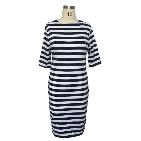 fashionable Striped Autumn women dresses big sizes NEW 2017 plus size women clothing Knee-Length dress casual o-neck loose dress