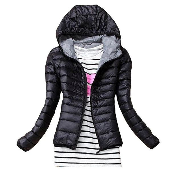 Autumn Winter Women Basic Sport Jacket Coat Female Slim Hooded Brand Cotton Casual Black Jackets