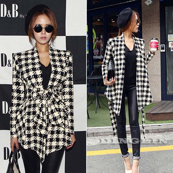 Women Winter Jacket Coat Long Sleeve Houndstooth Print Autumn Casual Clothing Slim Belt Outerwear