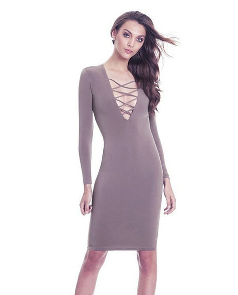 Women Long Sleeve Autumn Dresses Sexy Club Bandage Dress Women's Vintage Dress Warm Pencil Dresses