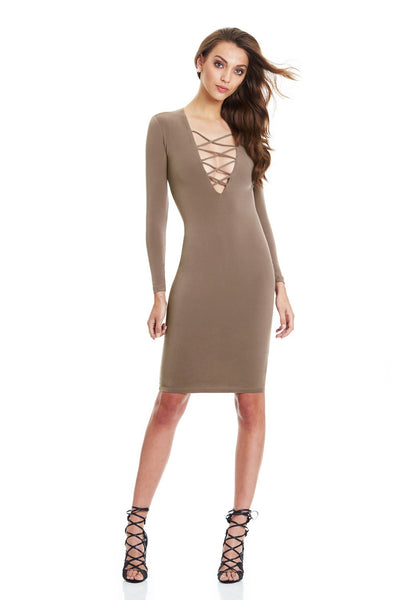 Cotton Women Tie Up Autumn Party Dress Sexy Deep V Neck Criss Long Sleeve Night Club Bandage Dress
