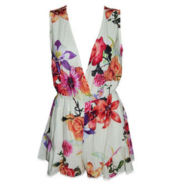 Celebrity Style Women's Deep V Neck Floral Print Jumpsuits Playsuits Ladies Overalls Summer Rompers