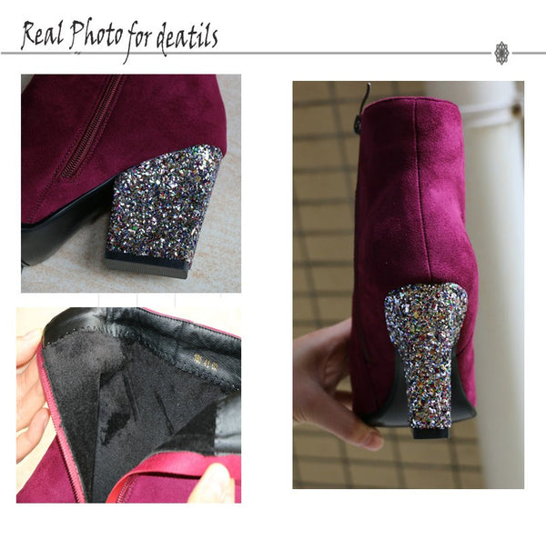 Zipper Autumn Flock Thick High Heel Ankle Boots Party Rhinestone Size 34-43