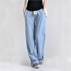 Plus Size Casual Loose Wide Leg Pants Women's Straight Jeans Elastic Waist Full Length Trousers