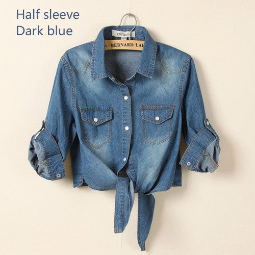 Denim Shirt Female Sweep Tieclasps Lacing Denim Outerwear Cardigan Short Design Blouse