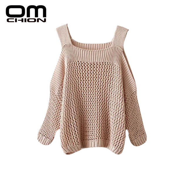 Autumn Winter Sweater Women Off Should Slash Neck Casual Hollow Out Pullovers Long Sleeve Sweaters
