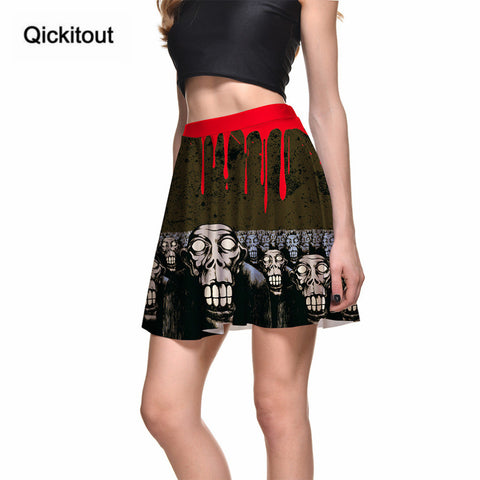 Sexy Slim Women's Blood Drop Skull Funny 3D Digital Print Skirts
