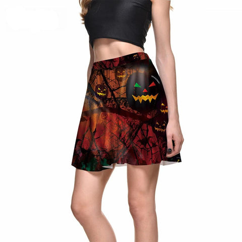 Sexy Slim Women's Twilight Forest Pumpkin Funny Digital Print Skirts