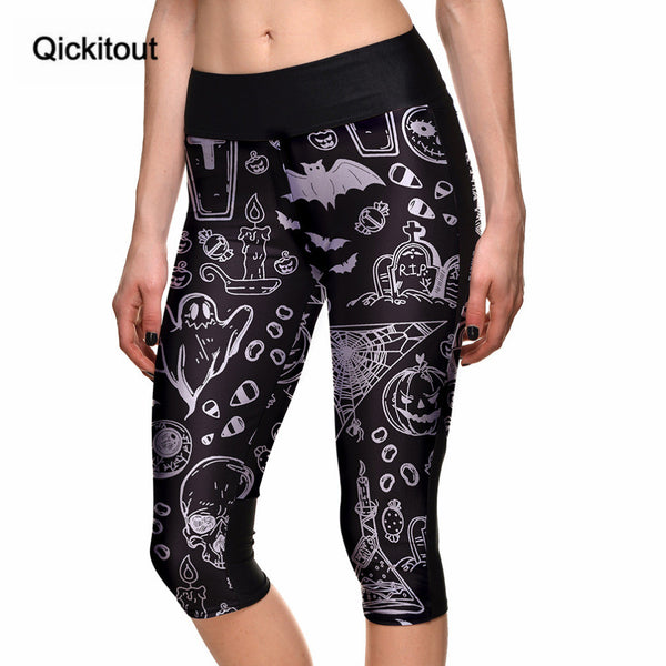 Capri Pants Women's 7 Point Palm Skull Halloween Ghost Digital Print High Waist Side Pocket Phone