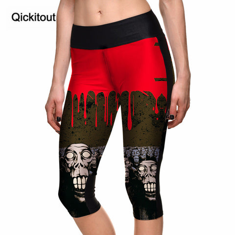 Capri Pants Women's 7 Point Halloween Blood Drop Skull Digital Print High Waist Side Pocket Phone