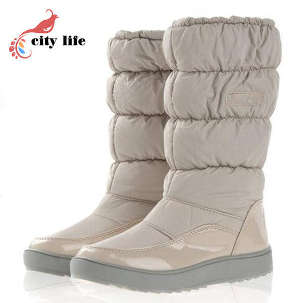 For -40 Degree Women Winter Waterproof Boots Fur Plush Inside Big Plus Size 35-41