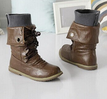 Plus Size Vintage Motorcycle Snow Ankle Boots For Women Winter Autumn Leather Flats