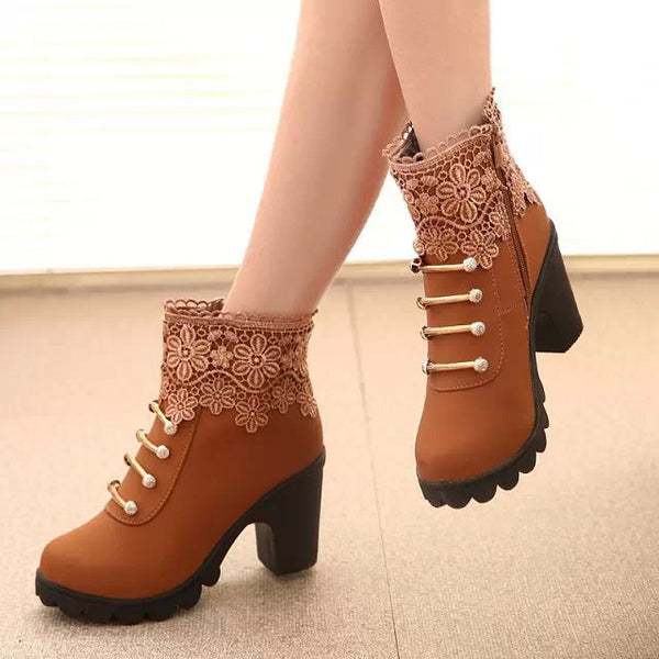 Women PU Leather Round Toe Ankle Sexy Lace Ladies High Heels Platform Boots