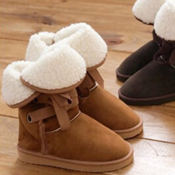 Winter Snow Women Fur Buckle Motorcycle Ankle Boots Warm Flats Size 36-40