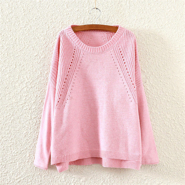 Women Sweaters And Pullovers Loose Round Neck Slit Hollow Solid Knit Long Sleeve Pink Sweaters Coat
