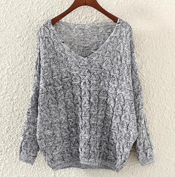 Autumn Winter Sweater Mujer Deep V-Neck Solid Knit Long Sleeve Casual Sweaters Grey Loose Pullovers