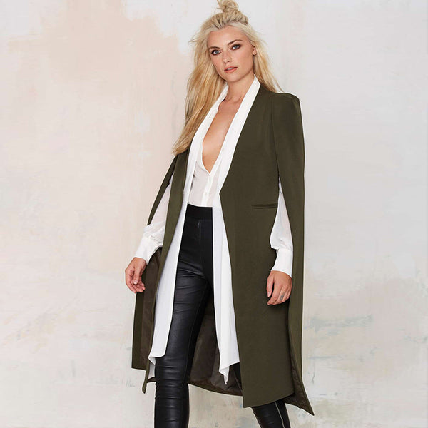 Autumn Fashion Women 3 Colors Open Stitch Cloak Trench Coats Outwears Poncho Coat