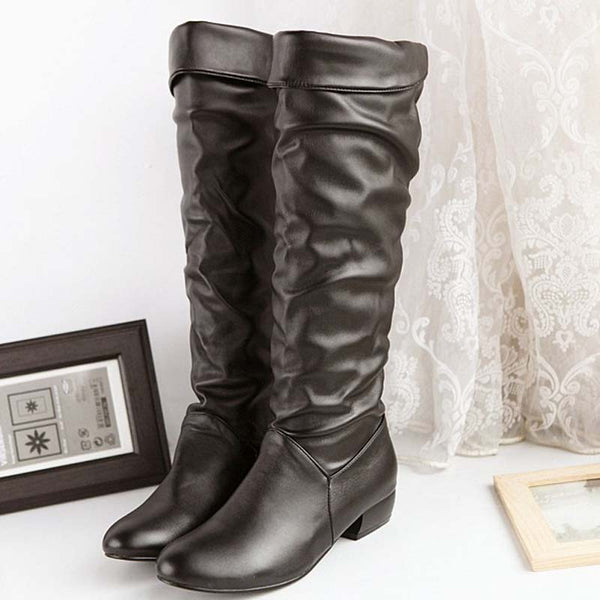 Plus Size 43 Winter Mid-calf Women Black White Brown Flats Heels Half Boots Autumn Snow
